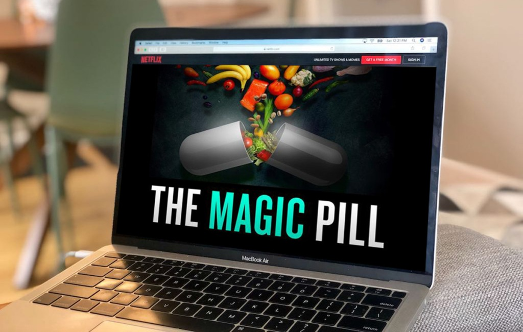 one of the best food documentaries, magic pill, shown on macbook