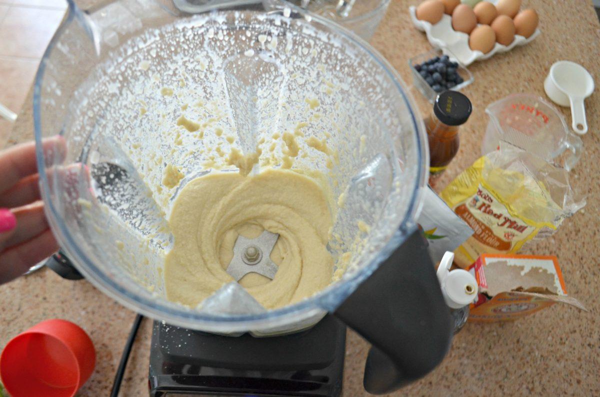 Keto Mini Blueberry Pancake Bites - Mixing the batter in a blender
