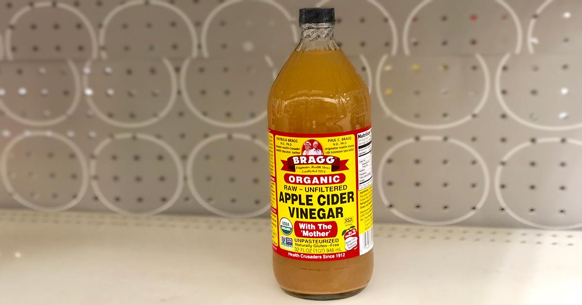 bragg apple cider vinegar on shelf