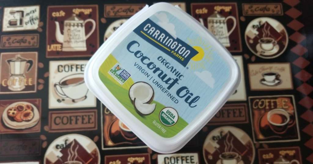 carrington coconut oil container on counter
