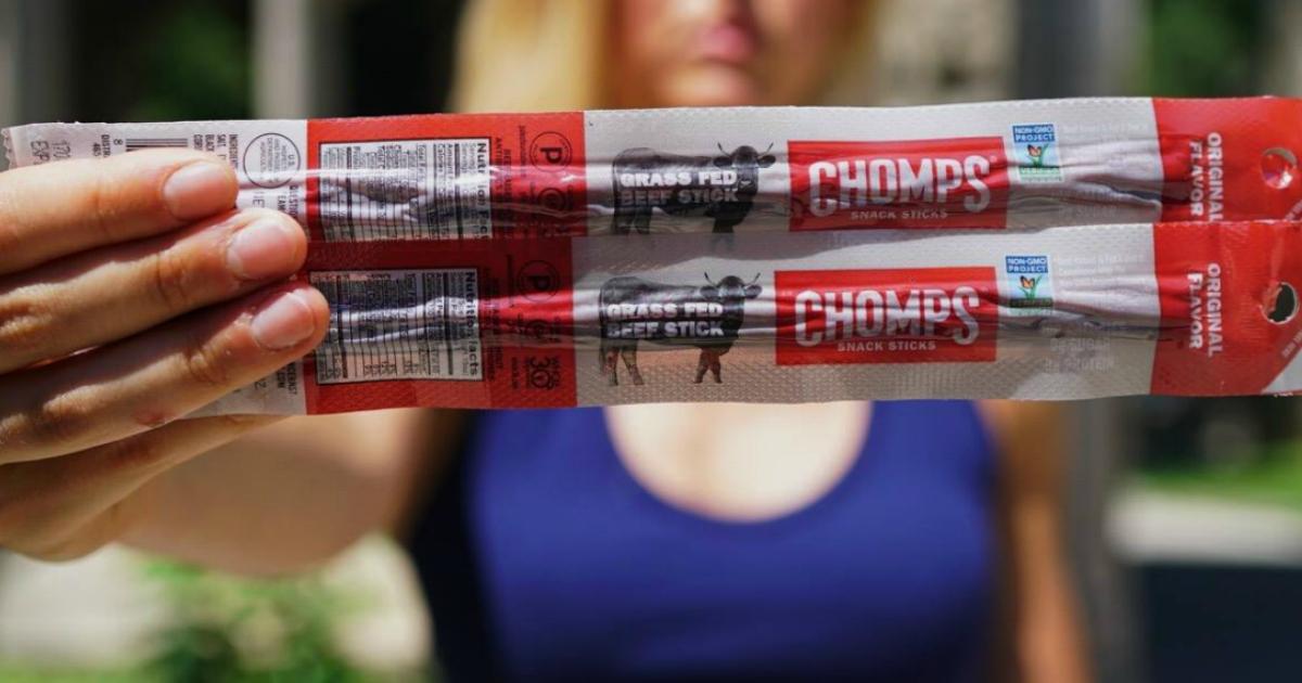 chomps meat snack sticks in a closeup