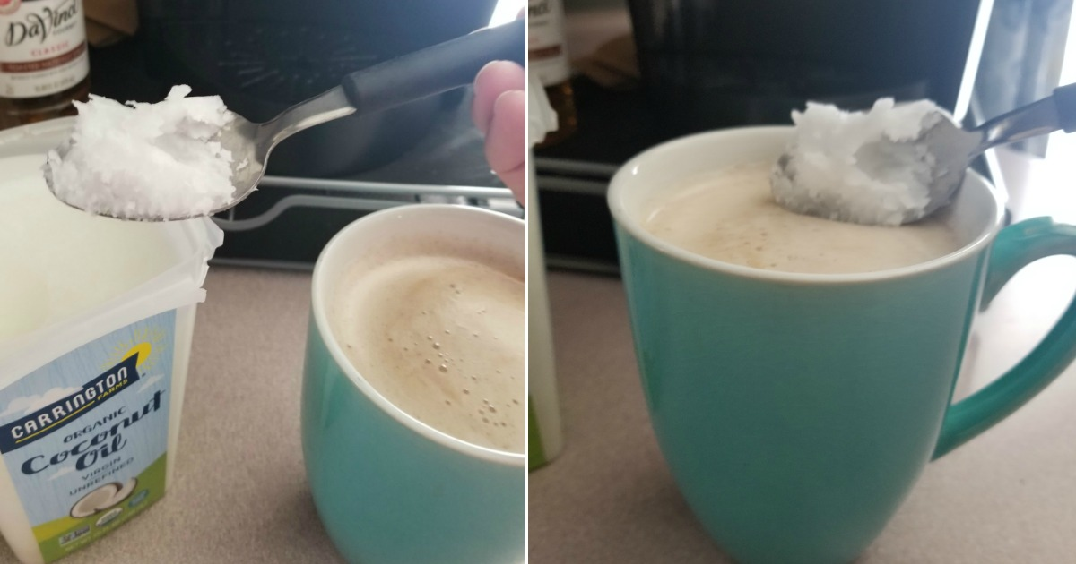 Ways to use coconut oil – coconut oil scooped into coffee