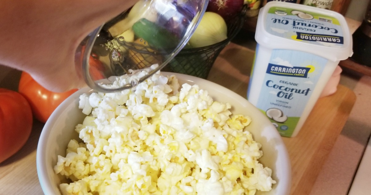 Ways to use coconut oil – coconut oil melted over popcorn
