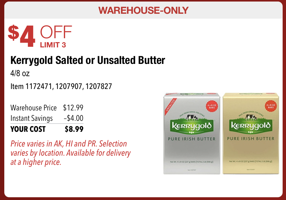 Kerrygold butter Costco deal