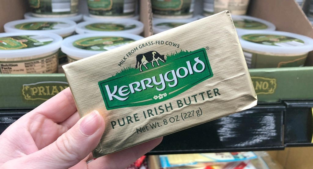 holding package of Kerrygold butter