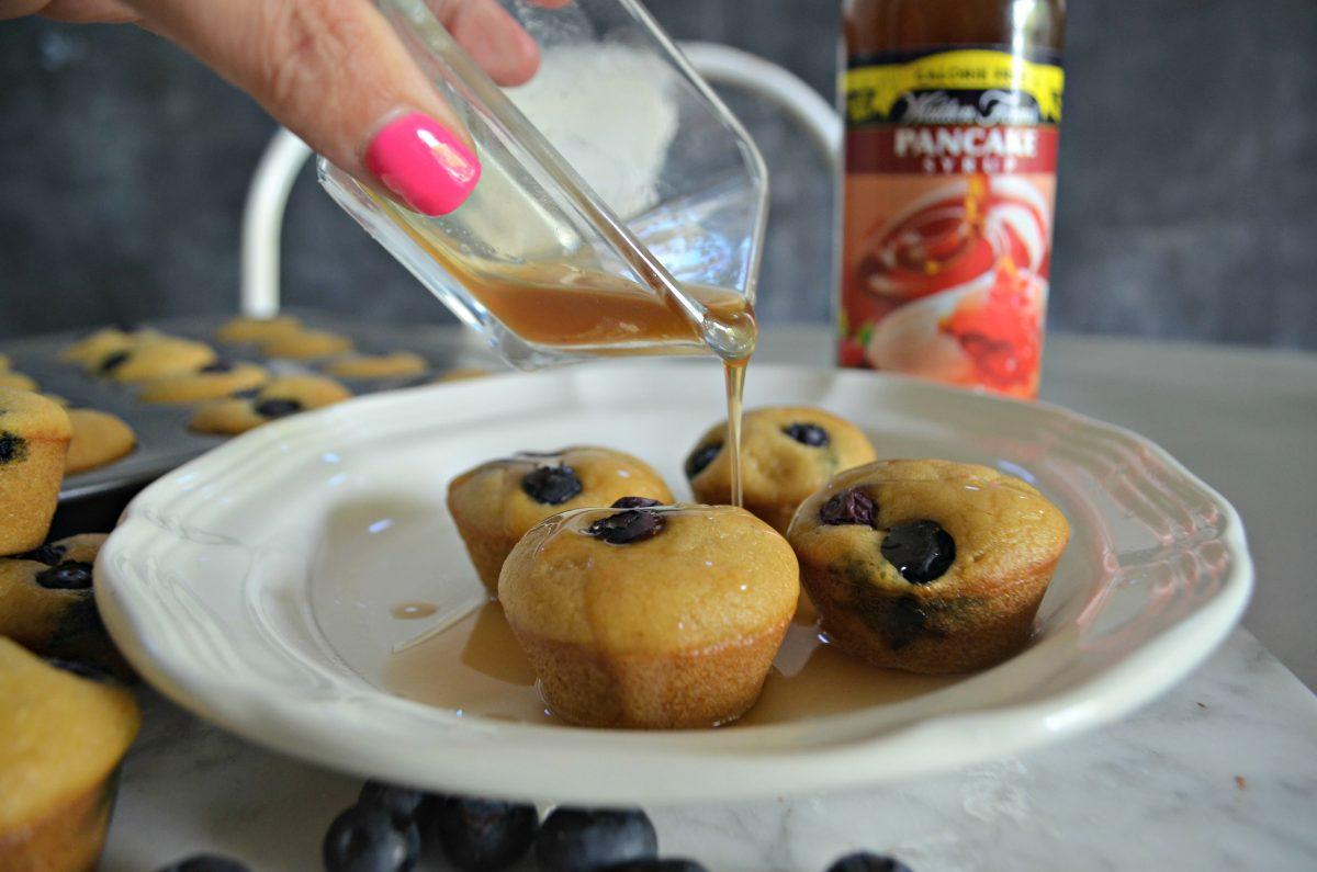 Keto Mini Blueberry Pancake Bites - pouring sugar free syrup on top