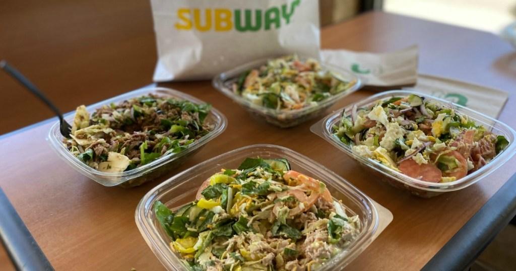keto Subway salads on table