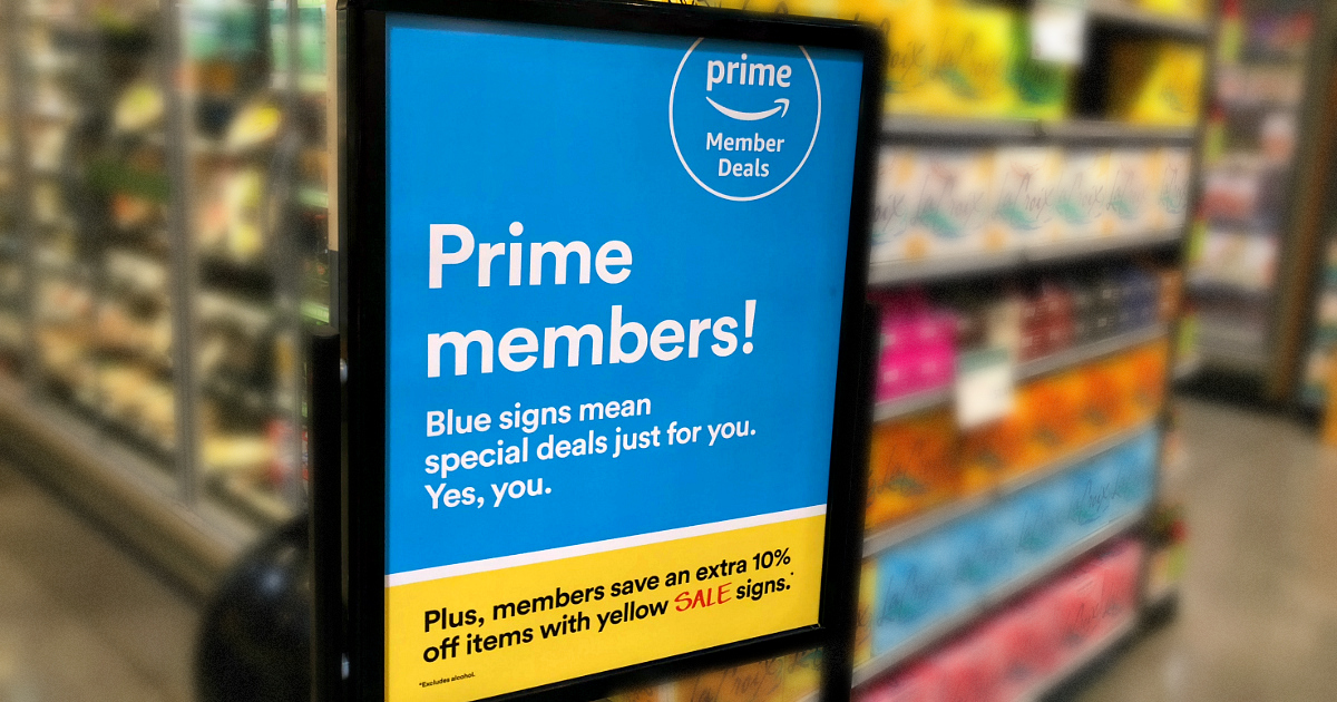 keto whole foods shopping tips to save money – prime member signage for yellow tag discount at whole foods