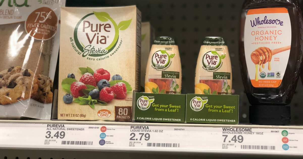 deal pure via stevia sweetener target - products on a shelf