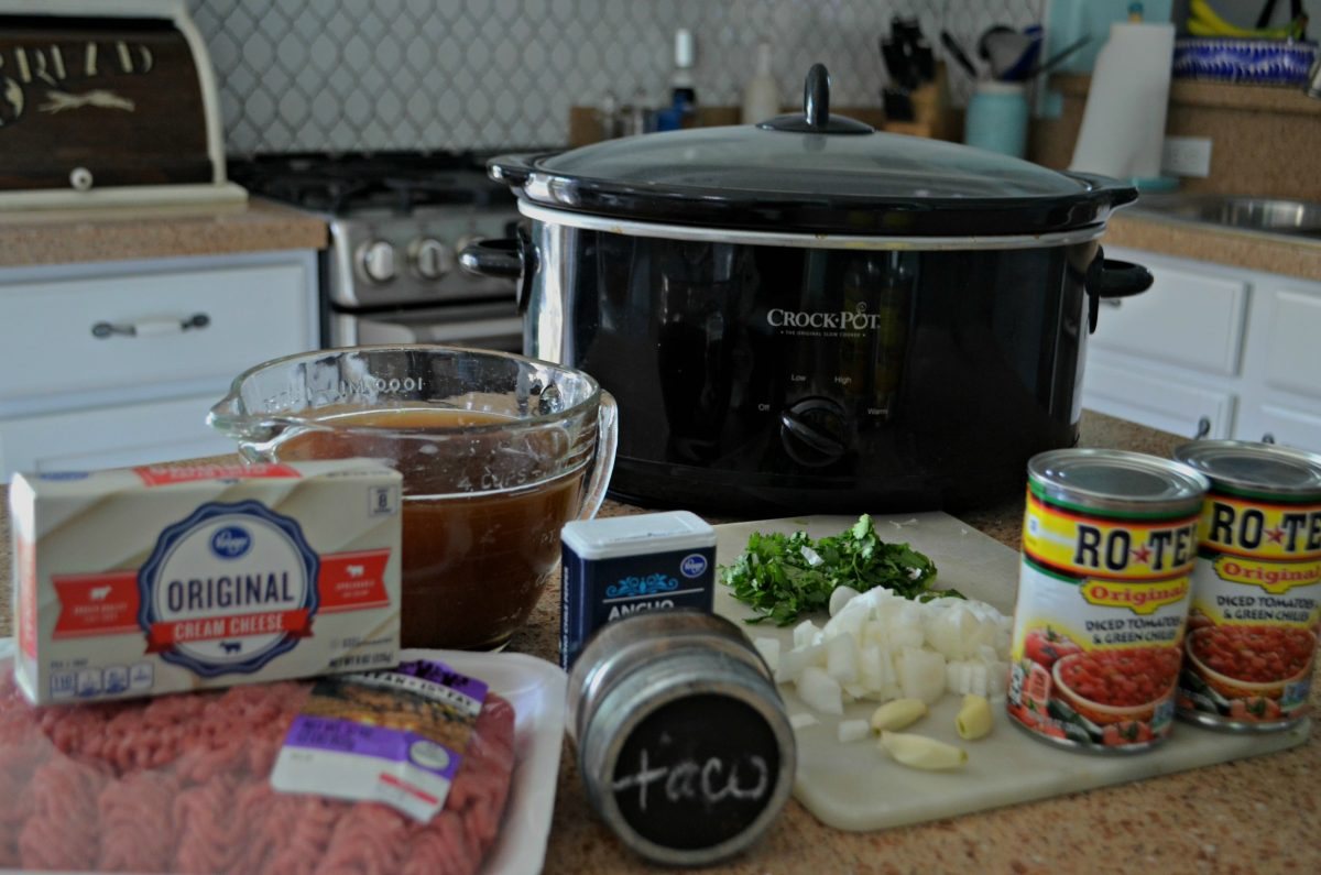 slow cooker keto taco soup - the ingredients on a counter