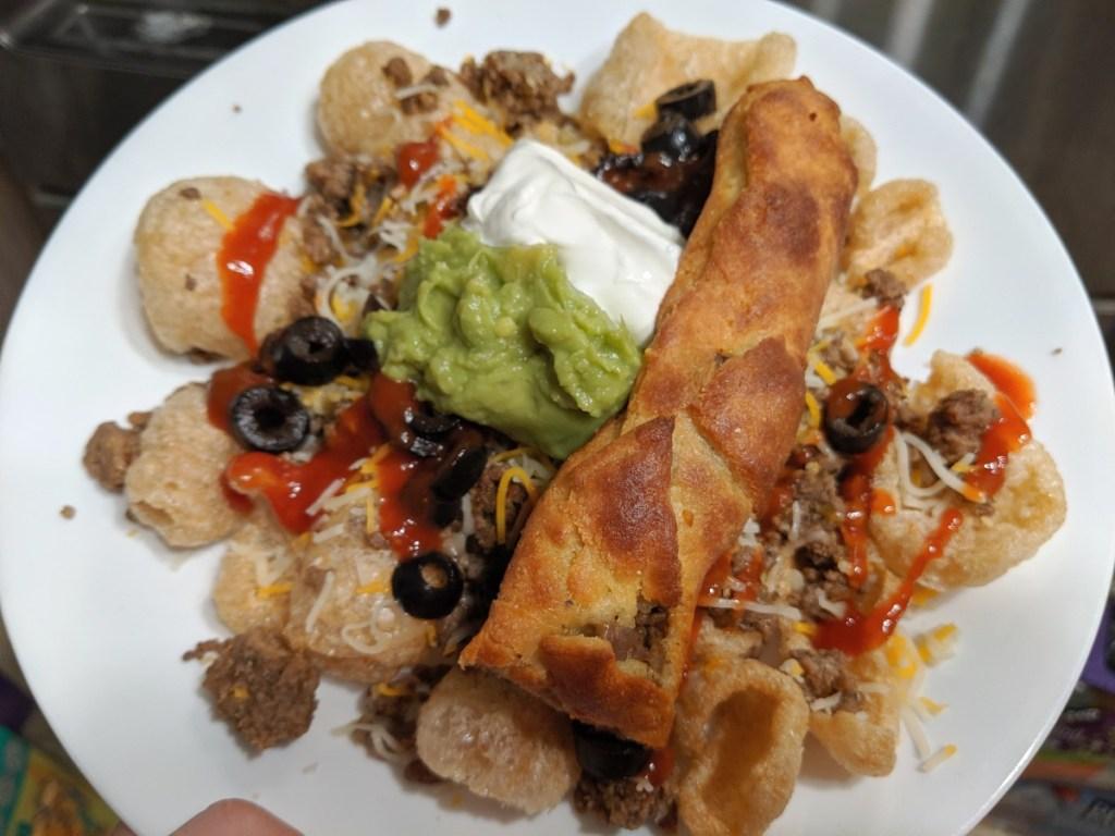pork rind nachos with taco-stuffed breadstick