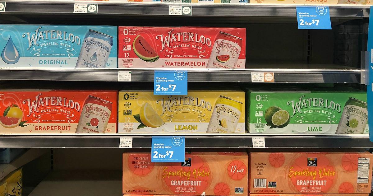 keto whole foods shopping tips to save money — waterloo sparkling beverages on shelf