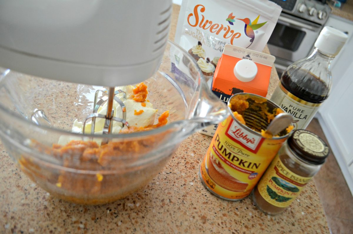 ingredients on the counter near the mixer for Keto Sugar Free Pumpkin Cheesecake Mousse