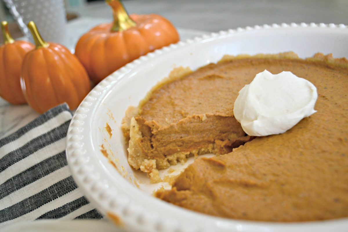 Bake this easy Keto Pumpkin Pie - served up in a pie plate