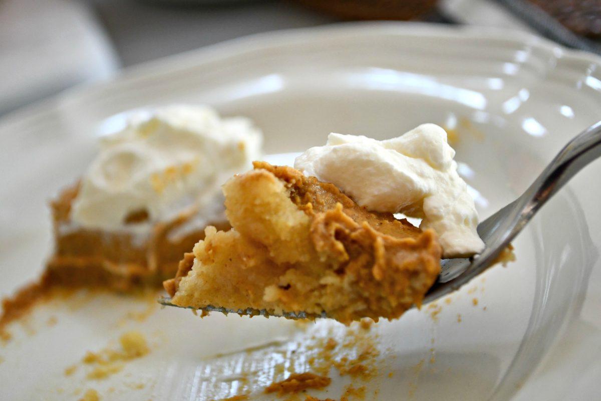 Bake this easy Keto Pumpkin Pie – closeup on a fork