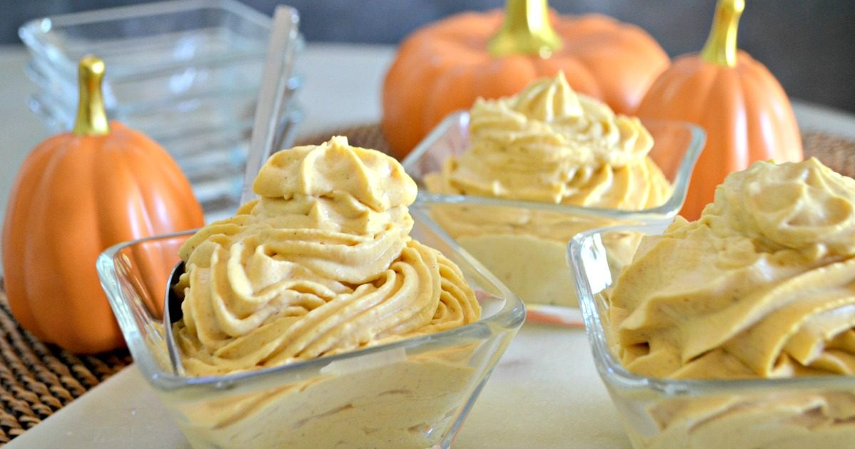 sugar-free pumpkin cheesecake mousse – served up in bowls