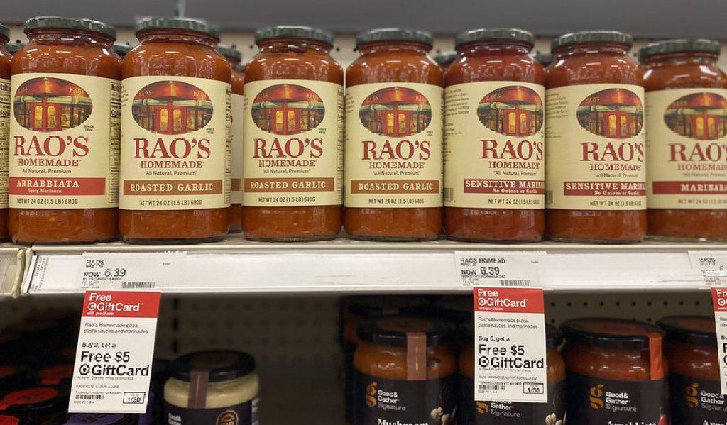 Rao's Sauce on shelf at Target