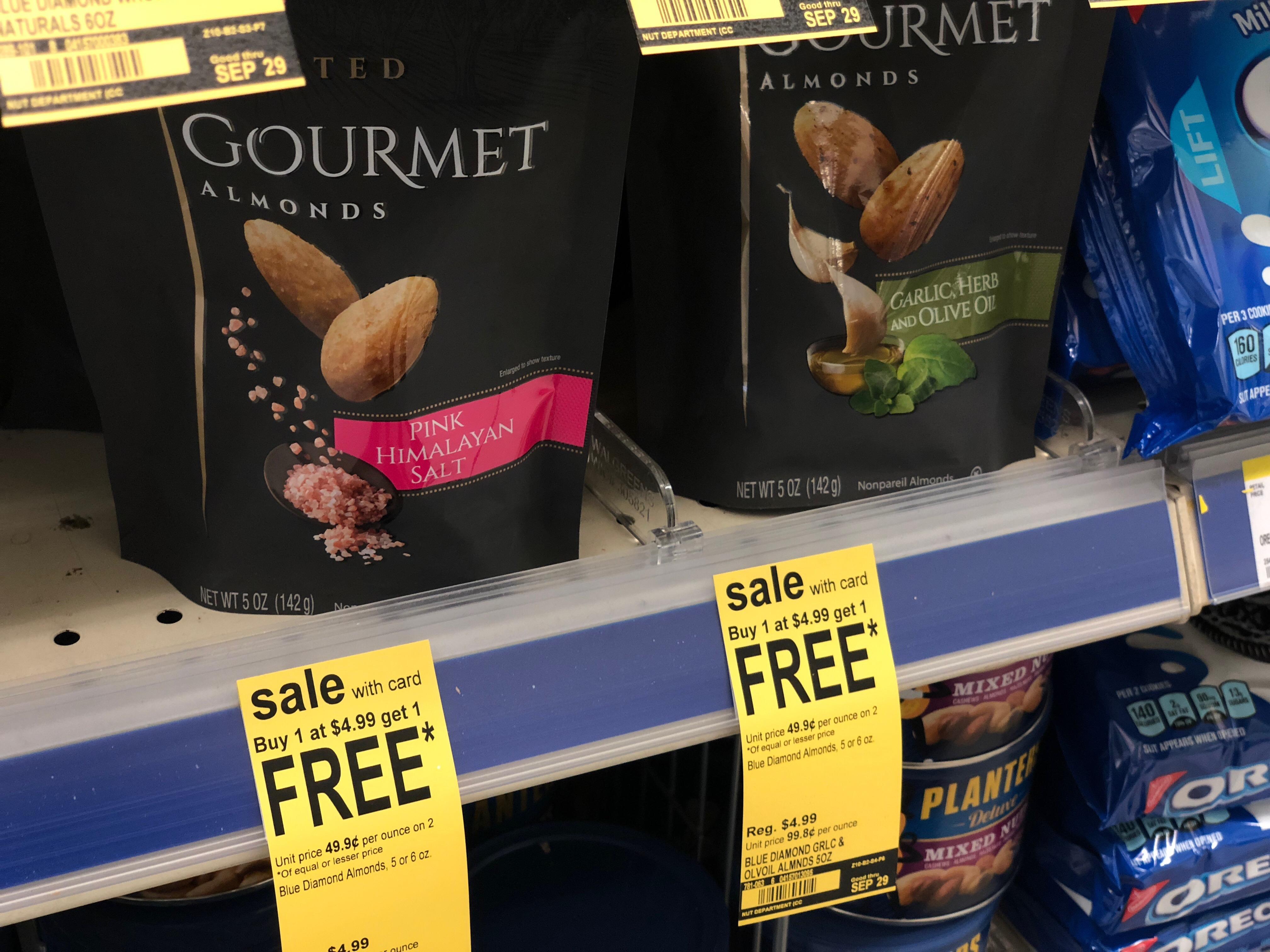 walgreens deal blue diamond almonds – two bags of almonds on the shelf