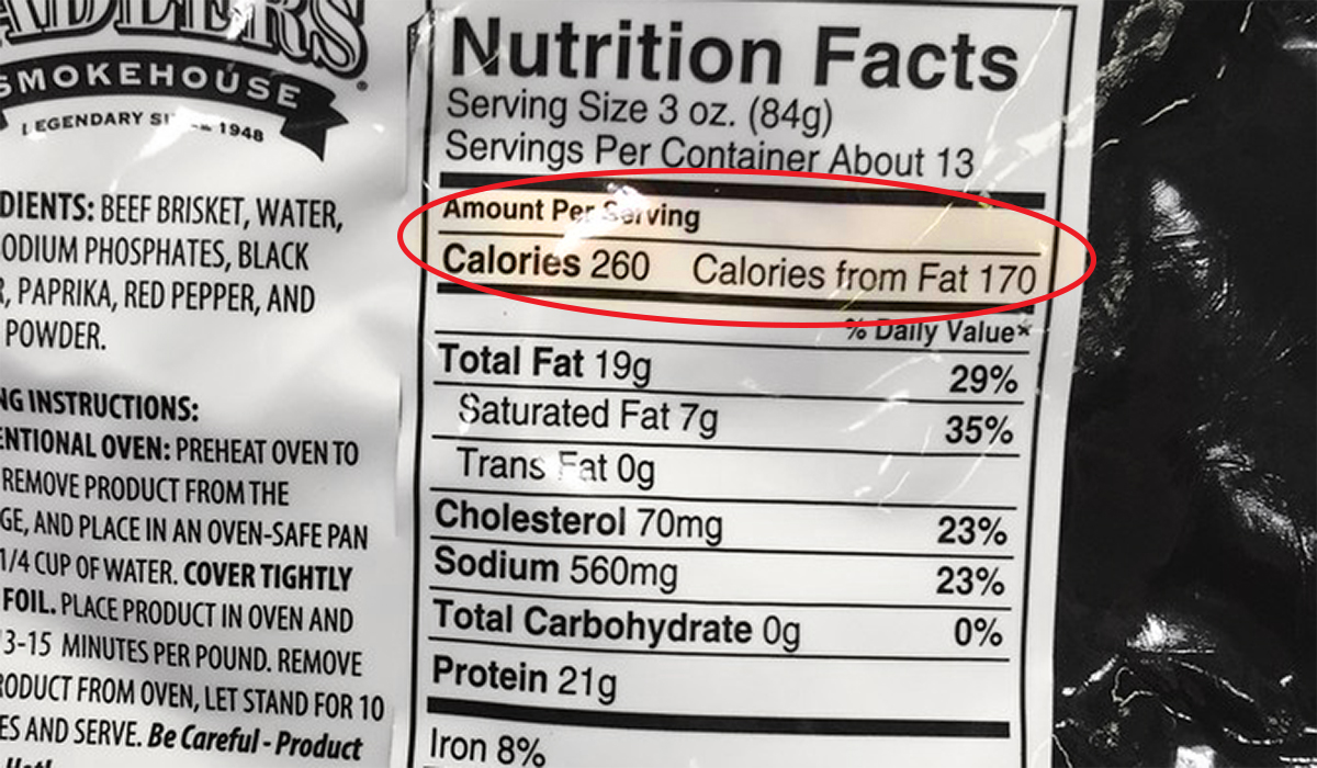 calorie count on briskt package