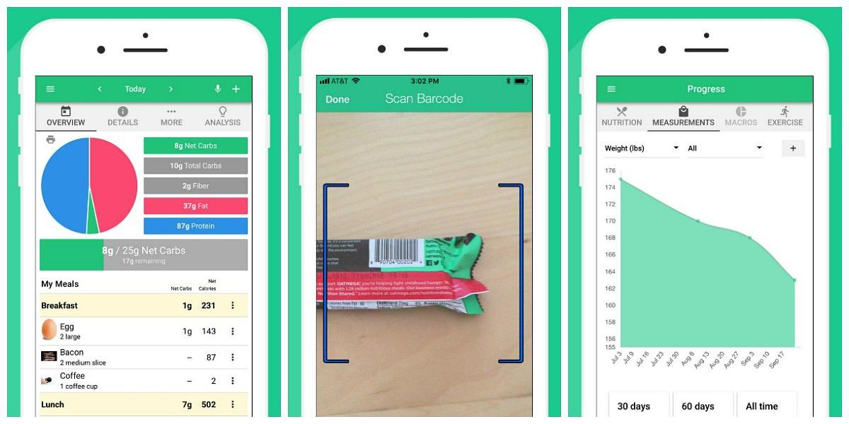favorite keto smartphone apps — carb manager screenshots