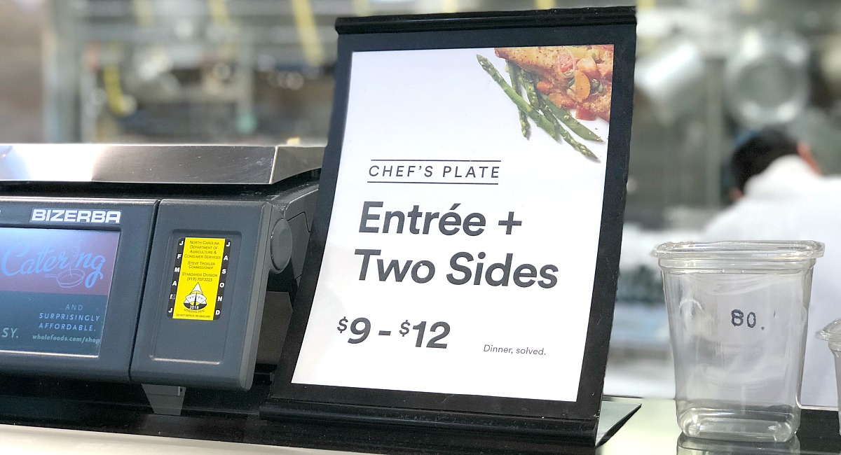 whole foods shopping tips — signage of the chef's meal at the whole foods prepared foods counter