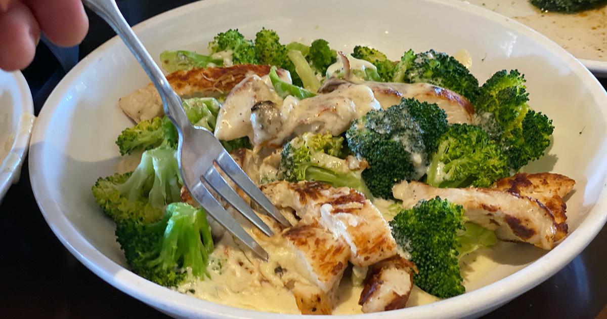 chicken alfredo dish at olive garden