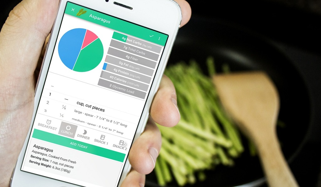 cooking asparagus and monitoring carb counting app