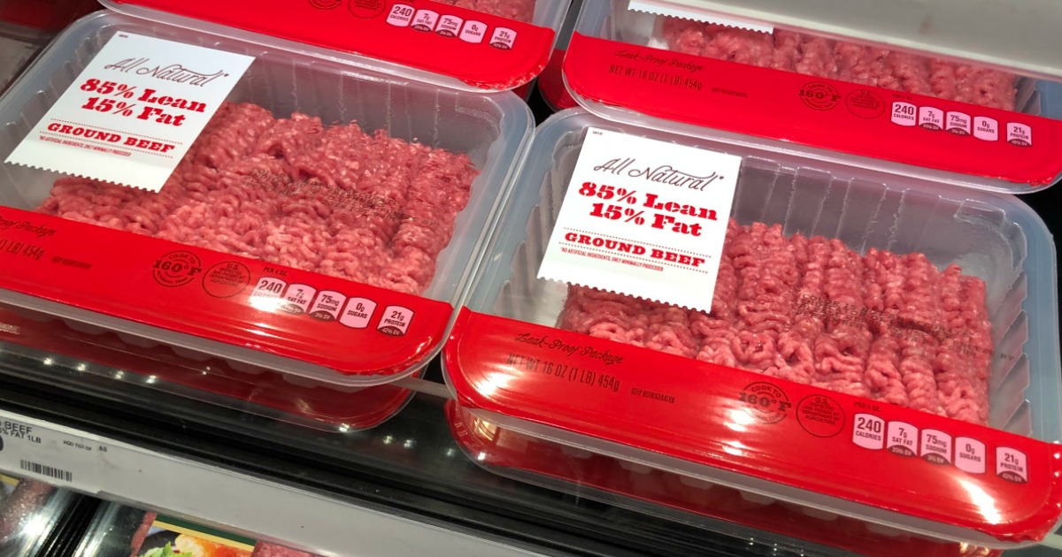 Ground beef in packaging in the Target refrigerator