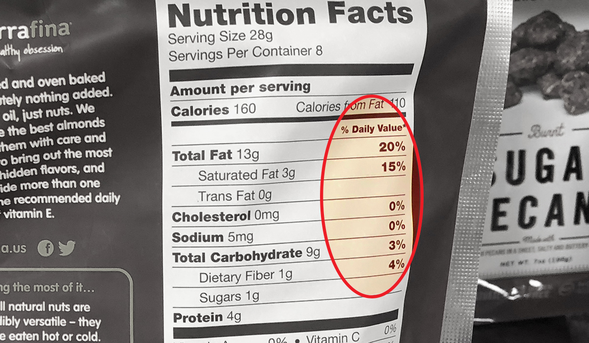 how to read a nutrition label for keto — hazelnuts daily value percentage