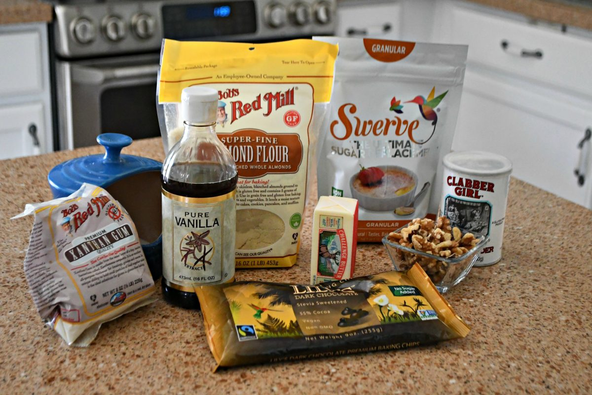 Keto Chocolate Chip Cookies ingredients on the counter