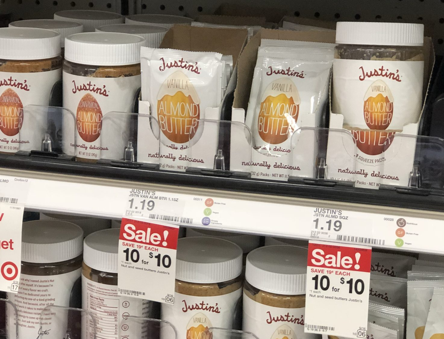 This keto target deal is for these justin's almond butter squeeze packs on a shelf next to jars of nut butter