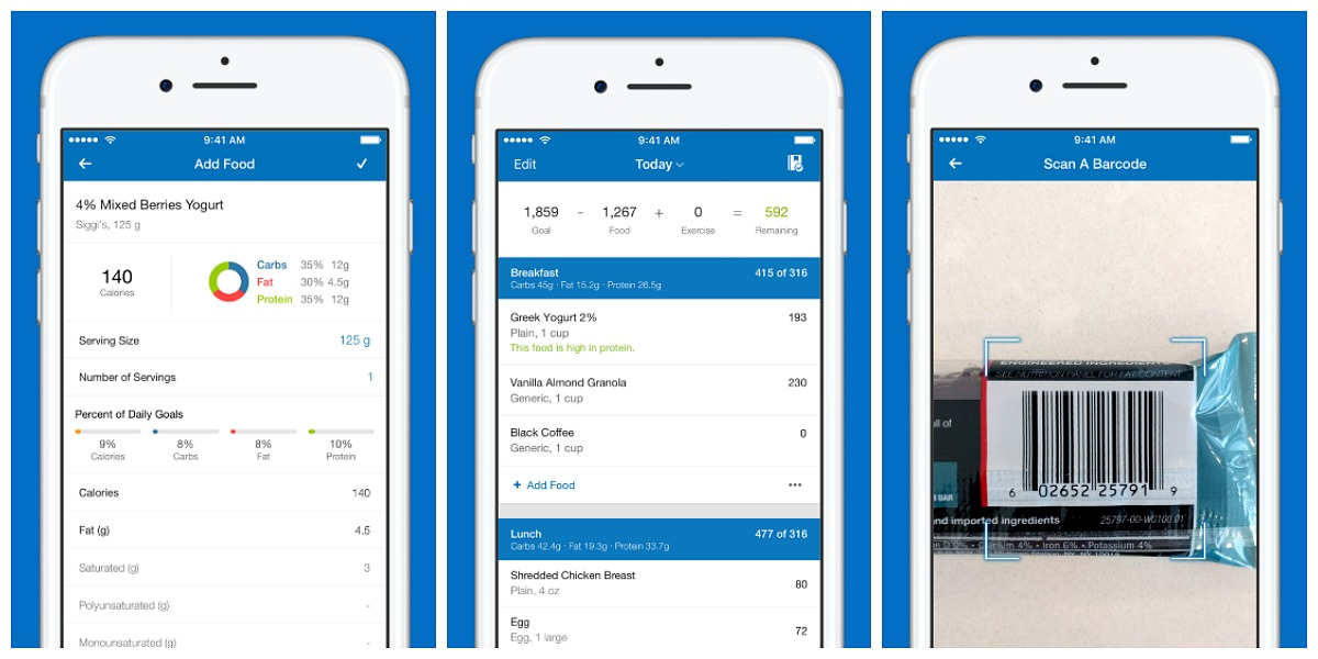 favorite keto smartphone apps — my fitness pal screenshots