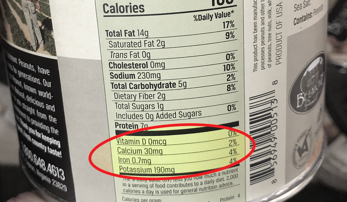 additional nutrients section on nutrition label