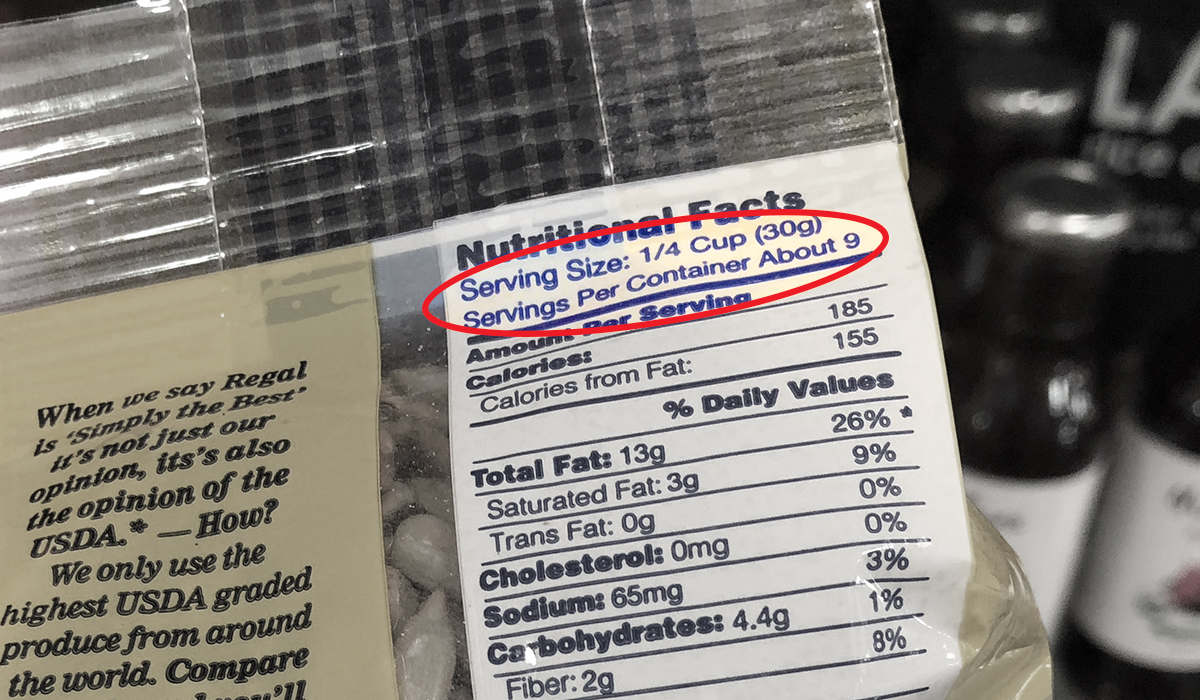 serving size on the back of seed package