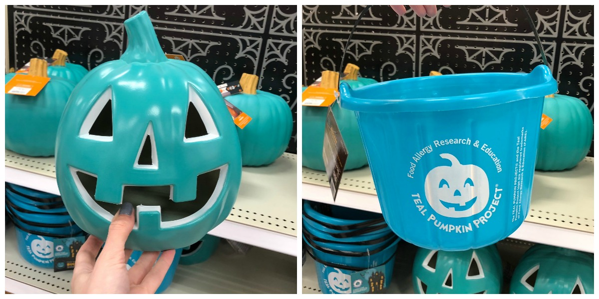 halloween dollar tree non-candy treat ideas — teal pumpkin and bucket for teal pumpkin project at target
