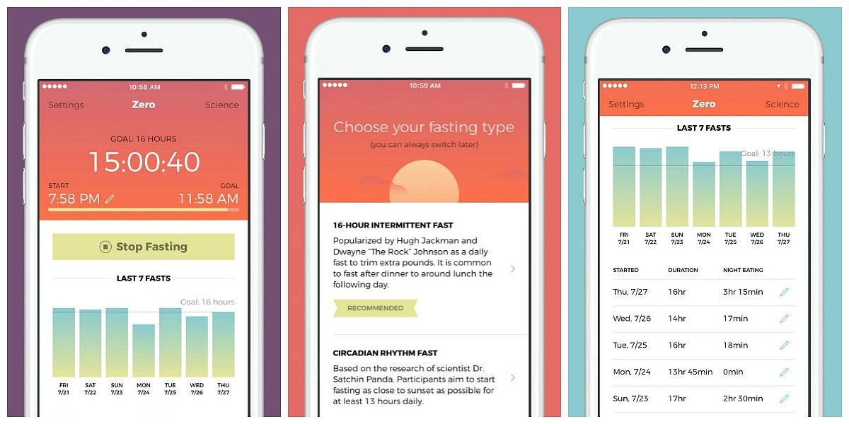 favorite keto smartphone apps — zero fasting screenshots