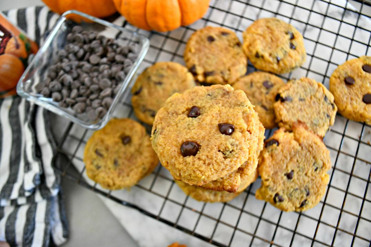 Keto Pumpkin Chocolate Chip Cookies on the cooling rack