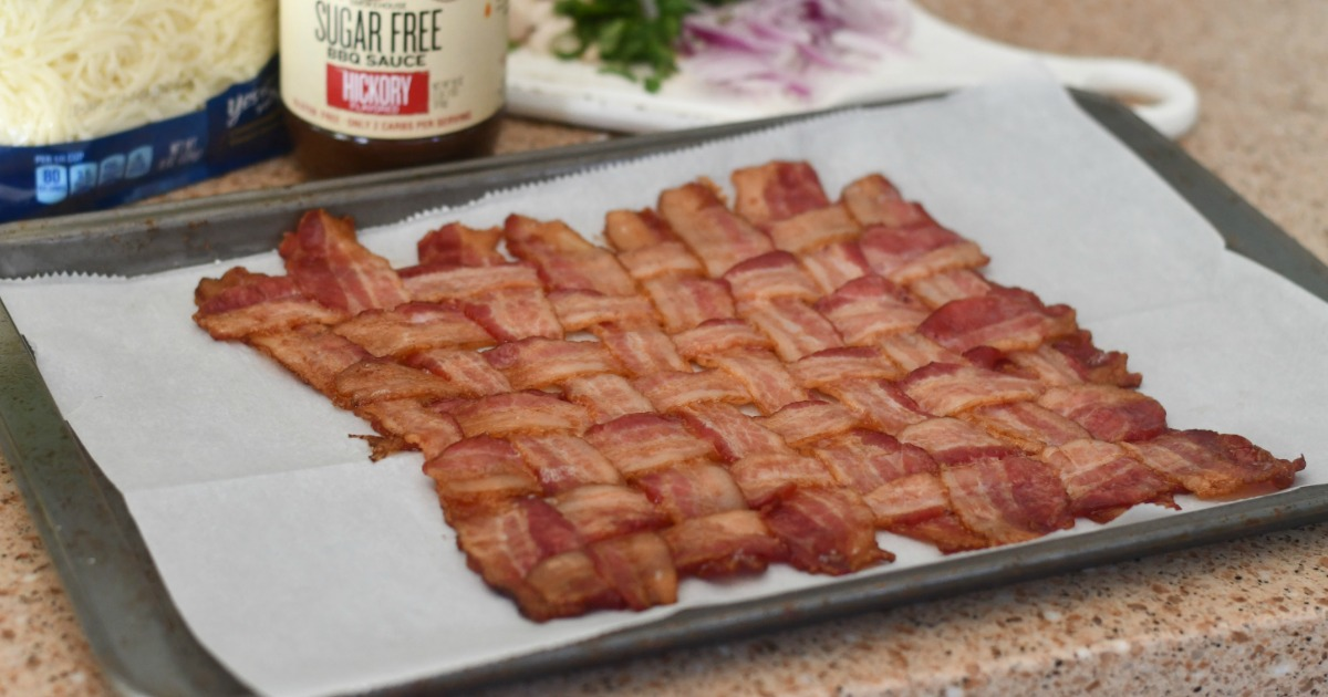 Butcher Box includes FREE Bacon for Life - Pictured Bacon Weave Pizza