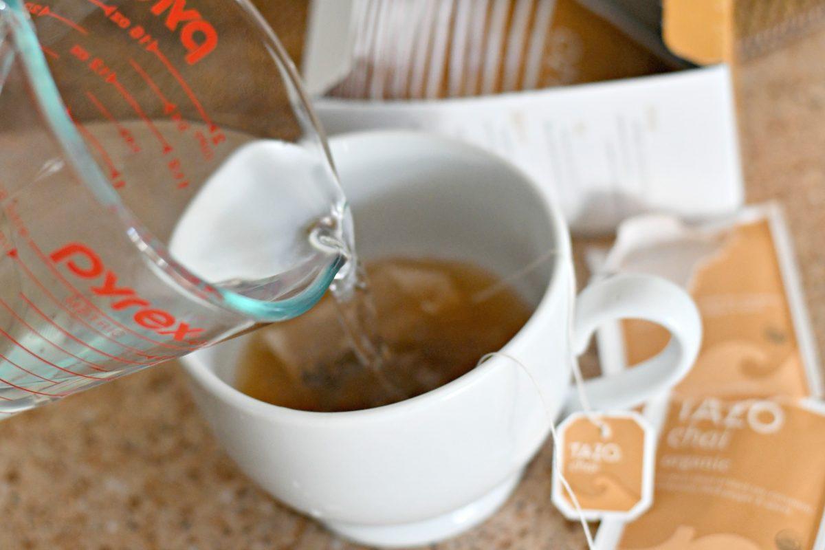 Homemade Starbucks Keto Chai Tea Latte – steeping the tea in hot water