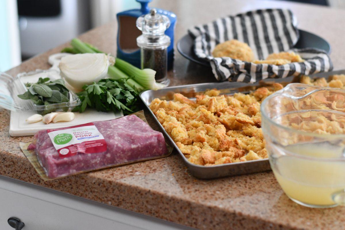 Keto Thanksgiving Sausage Stuffing – ingredients on the counter