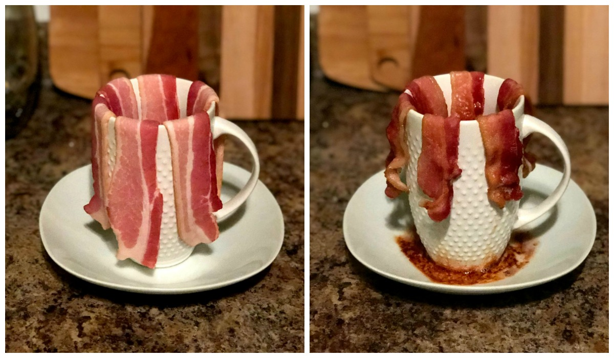 keto stocking stuffer ideas — bacon hanging over mug for microwave cooking