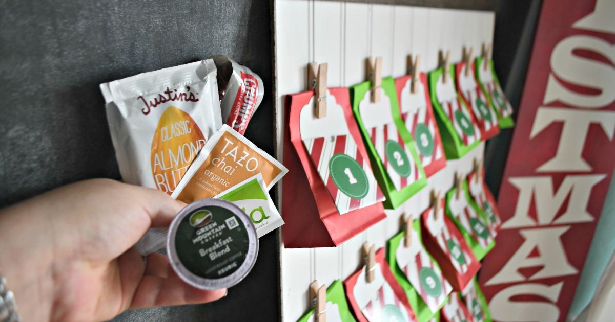 DIY Keto Advent Christmas Calendar – tea, peanut butter pouches, and more near the calendar