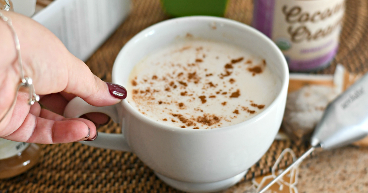 This homemade Keto Chai Tea Latte in a mug tastes better than Starbucks