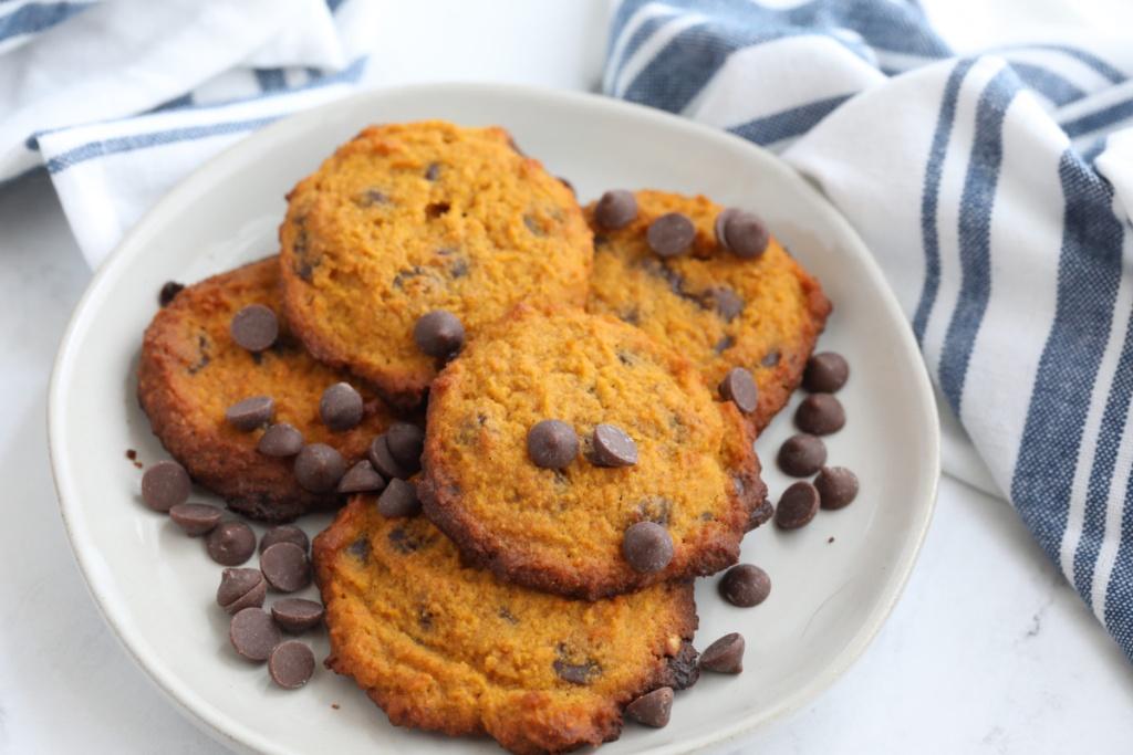 keto pumpkin chocolate chip cookies on a plate