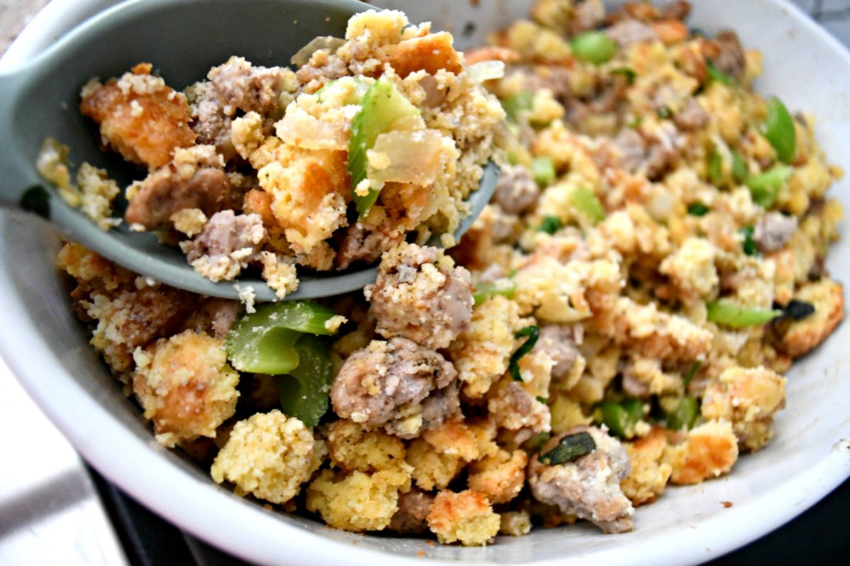 Keto Thanksgiving Sausage Stuffing – Mixing all of the ingredients