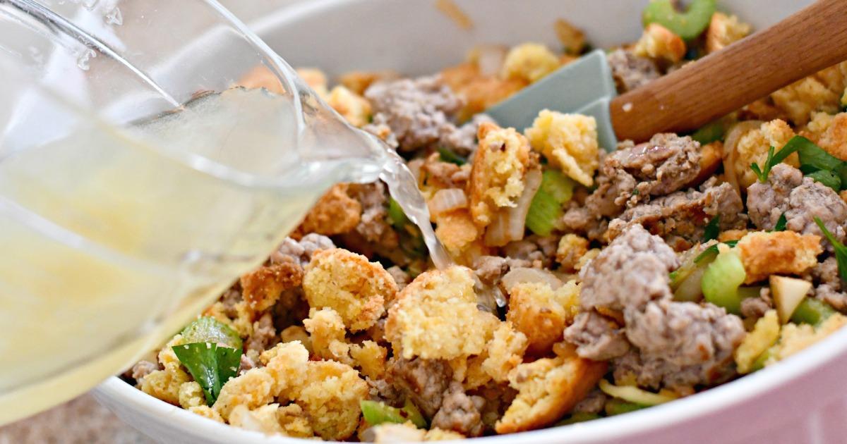 Keto Thanksgiving Sausage Stuffing – combining ingredients