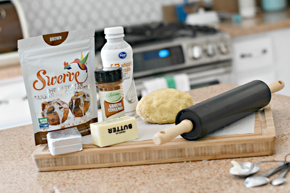 Keto cinnamon rolls recipe - ingredients assembled on a kitchen counter