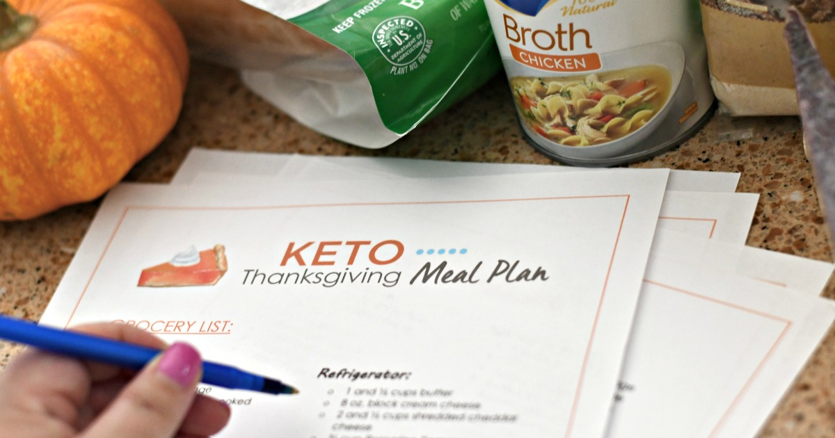 Keto Thanksgiving Meal Plan Grocery List – closeup of the pages