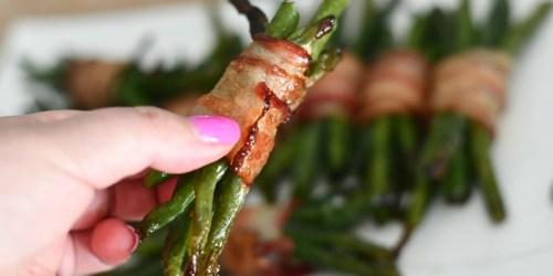 Keto Bacon Wrapped Green Bean Bundles