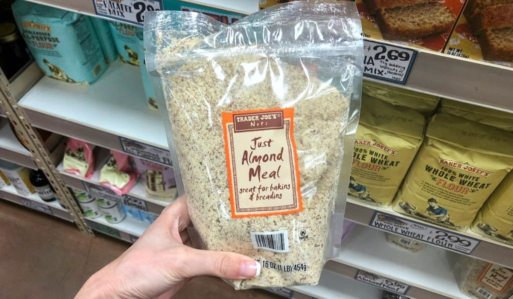 holding almond meal at Trader Joe's